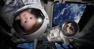 baby and dogstronaut